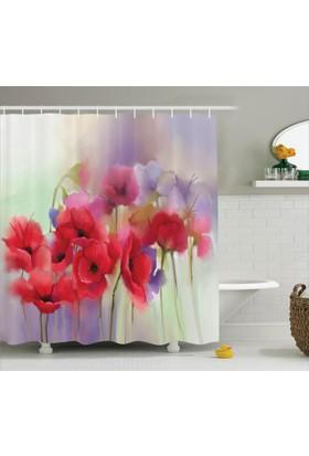 Orange Venue Pembe Gelincik Desenli Duş Perdesi Çeyizlik Çiçek