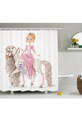 Orange Venue Prenses Ve At Desenli Duş Perdesi Çocuk İçin Beyaz