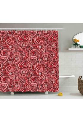 Orange Venue Pembe Kırmızı Girdap Desenli Duş Perdesi Trend