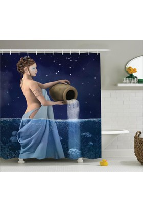 Orange Venue Kova Burcu Temalı Banyo Duş Perdesi Mavi Sembol