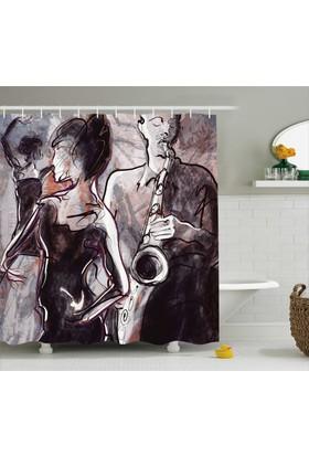 Orange Venue Dans Ve Müzik Temalı Banyo Duş Perdesi Şık Tasarım