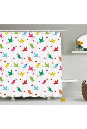 Orange Venue Kalp Ve Kuş Desenli Banyo Duş Perdesi Rengarenk Şık