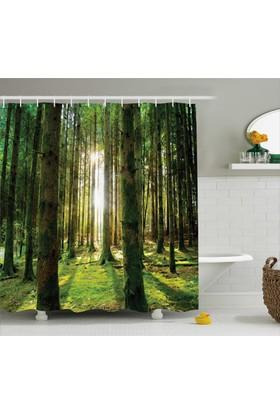 Orange Venue Güneş Işığı Ve Orman Temalı Banyo Duş Perdesi Yeşil