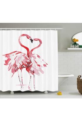Orange Venue Aşık Flamingolar Temalı Duş Perdesi Romantik Kırmızı
