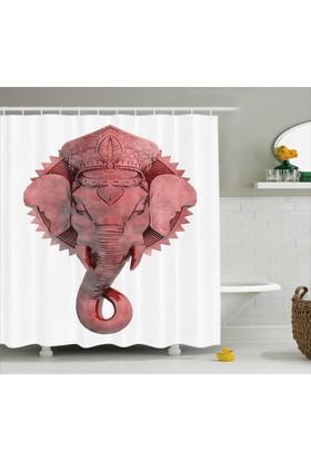 Orange Venue Kırmızı Fil Desenli Banyo Duş Perdesi Hindistan