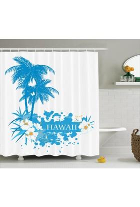 Orange Venue Hawai Temalı Duş Perdesi Tropik Ada Egzotik Mavi