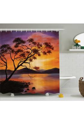 Orange Venue Ağaç Göl Ve Dağ Desenli Banyo Duş Perdesi Mor Sarı