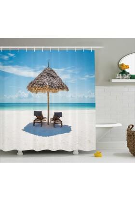Orange Venue Egzotik Adada Tatil Temalı Banyo Duş Perdesi Şık