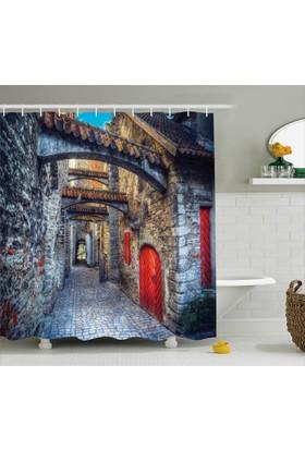 Orange Venue Kemer Ve Taş Binalar Temalı Banyo Duş Perdesi Antik