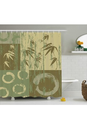 Orange Venue Bambu Desenli Banyo Duş Perdesi Ağaç Yeşil Yaprak