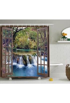 Orange Venue Şelale Manzaralı Duş Perdesi Pencere Ağaç Yeşil