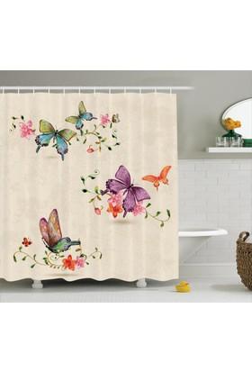Orange Venue Çiçek Ve Kelebek Desenli Duş Perdesi Şık Tasarım