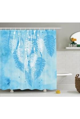 Orange Venue Beyaz Ve Mavi Tüy Desenli Duş Perdesi Şık Tasarım