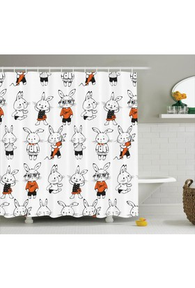 Orange Venue Çocuklar İçin Duş Perdesi Siyah Beyaz Tavşan Turuncu