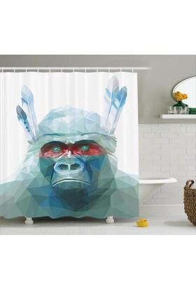 Orange Venue Mavi Kristal Maymun Desenli Duş Perdesi Dekoratif