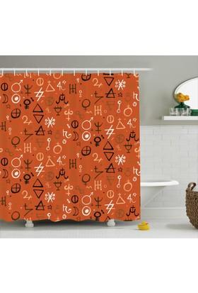 Orange Venue Rengarenk Mistik Sembol Desenli Duş Perdesi Turuncu