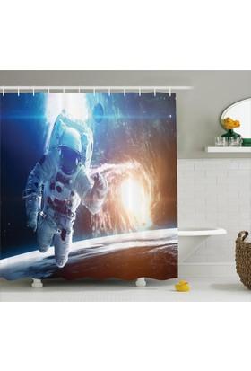 Orange Venue Uzaydaki Astronot Temalı Duş Perdesi Beyaz Lacivert