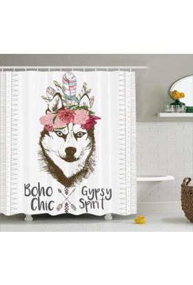 Orange Venue Köpek Portresi Desenli Duş Perdesi Tüy Çiçek Şık