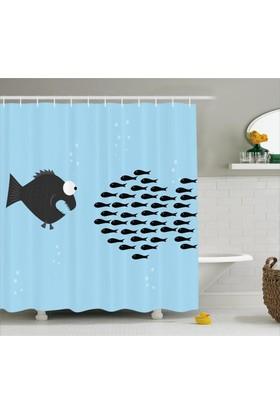 Orange Venue Balık Desenli Duş Perdesi Mavi Siyah Şık Tasarım
