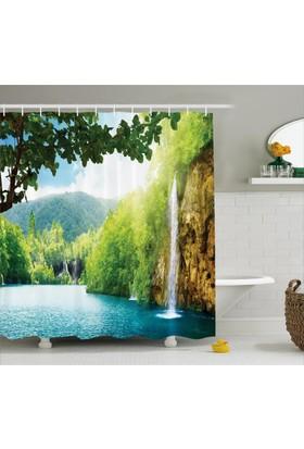 Orange Venue Şelale Ve Orman Manzaralı Duş Perdesi Yeşil Mavi