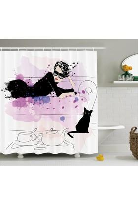 Orange Venue Güzel Kadın Ve Kedi Desenli Duş Perdesi Siyah Pembe