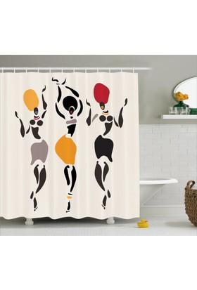 Orange Venue Dansçı Kadınlar Temalı Duş Perdesi Siyah Beyaz Sarı