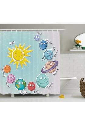 Orange Venue Güneş Sistemi Temalı Duş Perdesi Çocuk İçin Mavi