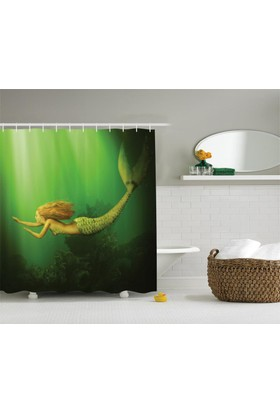Orange Venue Yüzen Deniz Kızı Desenli Duş Perdesi Yeşil Fantastik