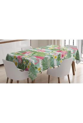 Orange Venue Yeşil Masa Örtüsü Flamingo Ve Tropikal Çiçekler