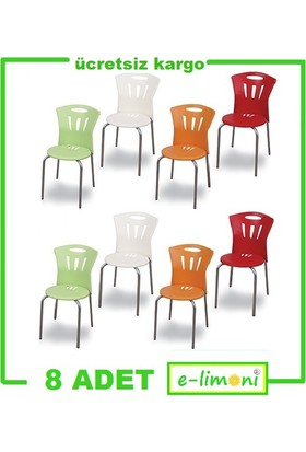 Elimoni Sandalye 8 Adet Set Metal Ayaklı Canlı Renkler