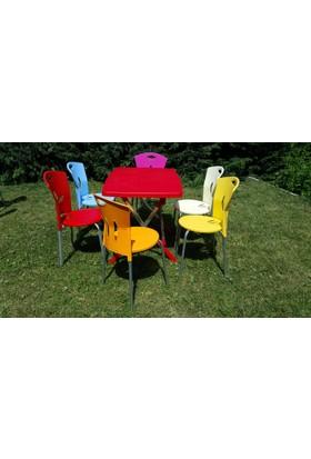 Elimoni Sandalye 6 Adet Set Metal Ayaklı Canlı Renkler