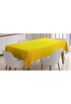 Orange Venue Sarı Puantiyeli Desenli Masa Örtüsü Güneş Efektli