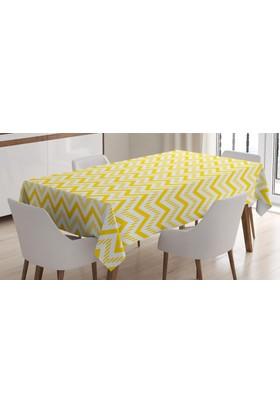 Orange Venue Çizgili Zikzak Desenli Masa Örtüsü Sarı Ve Beyaz