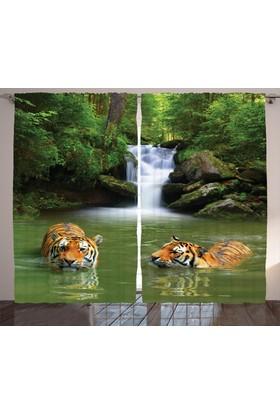 Orange Venue Şelale Ve Yüzen Kaplan Desenli Fon Perde Çift Kanat