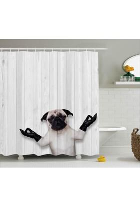 Orange Venue Siyah Eldivenli Sevimli Köpek Duş Perdesi