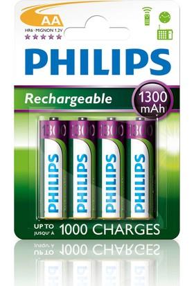 Philips Şarjlı Pil 1300 mAh AA 4'lü R6B4A130/10