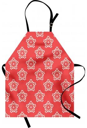Orange Venue Açmış Beyaz Çiçekler Mutfak Önlüğü Çiçek Desenli Şık Tasarım