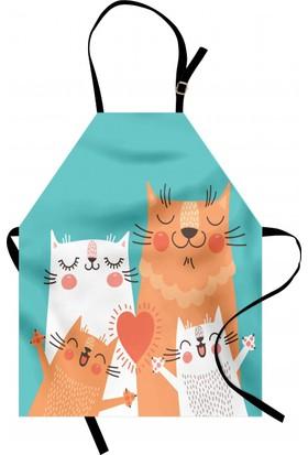 Orange Venue Şirin Kedi Ailesi Mutfak Önlüğü Sevimli Kedi Ailesi Yeşil
