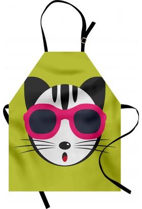 Orange Venue Gözlüklü Kedi Desenli Mutfak Önlüğü Yeşil Şık Tasarım