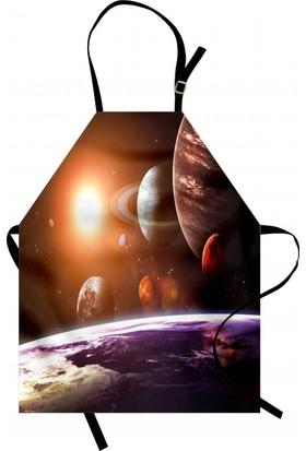 Orange Venue Güneş Sistemi Temalı Mutfak Önlüğü Turuncu Gezegen