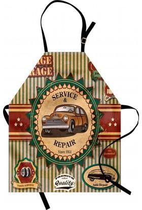 Orange Venue Nostaljik Araba Desenli Mutfak Önlüğü Rengarenk