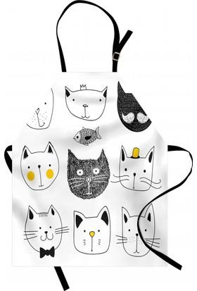 Orange Venue Siyah Beyaz Kedi Mutfak Önlüğü Şık Tasarım
