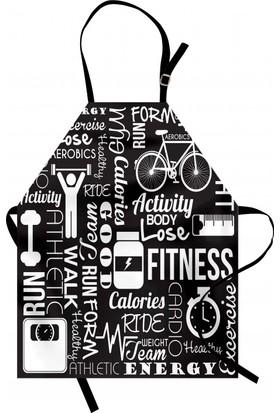 Orange Venue Egzersiz Zamanı Mutfak Önlüğü Spor Sağlık Siyah Beyaz