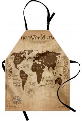 Orange Venue Dünya Haritası Desenli Mutfak Önlüğü Nostaljik Kahve