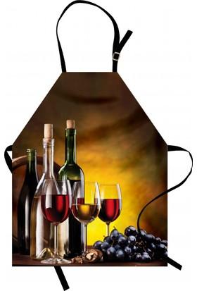 Orange Venue Şarap Kadehleri Desenli Mutfak Önlüğü Romantik Şık
