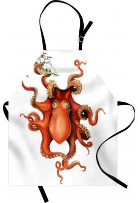 Orange Venue Turuncu Ahtapot Desenli Mutfak Önlüğü Dekoratif Şık