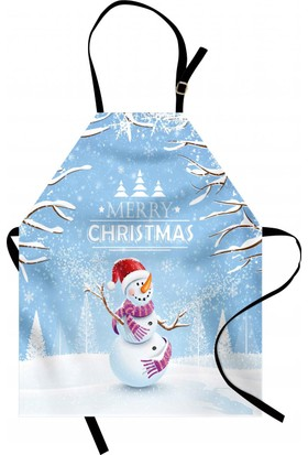 Orange Venue Gülen Kardan Adam Mutfak Önlüğü Ağaç Mavi Noel