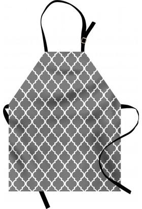 Orange Venue Gri Beyaz Motifli Mutfak Önlüğü Dekoratif Şık Tasarım