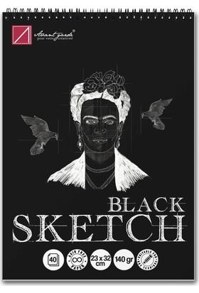 Avant-Garde Siyah Eskiz Defteri (23×32 cm, 140 gr)