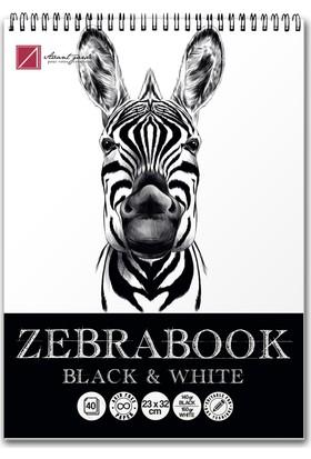 Avant-Garde Zebra Siyah/Beyaz Eskiz Defteri (23×32 cm, 140 gr Siyah, 160 gr Beyaz)